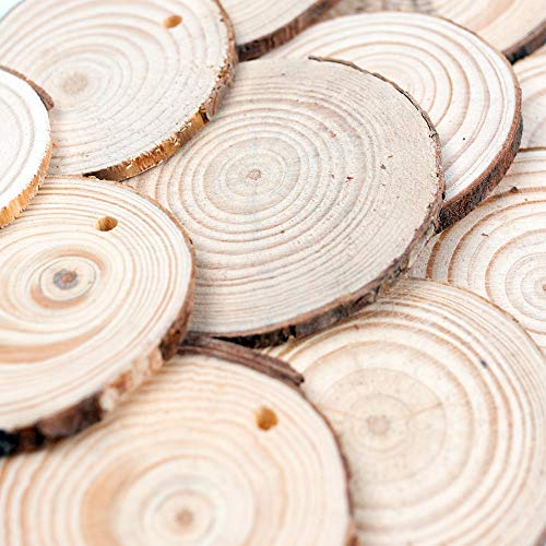 LovesTown Natural Wood Slices Set,50pcs 2.4-2.8 inches Wooden Ornaments Unfinished Wood Disc with Hole Wood Circles for DIY Crafts Wedding Decorations Christmas Ornaments