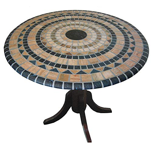 Palos Designs Vesuvius Stone Pattern Mosaic Table Cover   Fits Round 36 Inch To 48 Inch Tables   Blue And Tan Design