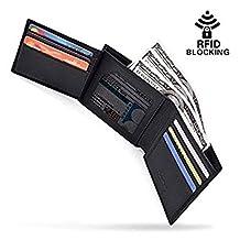 Mens Wallet RFID Blocking Slim Genuine Leather Trifold Credit Card Wallet Black