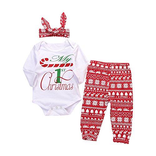 3PCs Baby Boys Girls Long Sleeve T-Shirt Romper+Snowflake Pants+Headband Christmas Outfits Set (12-18M, White)