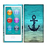 Apple iPod Nano 7 (7th Generation) Case, Fincibo (TM) Back Cover Hard Plastic Protector, Blue Anchor Wood