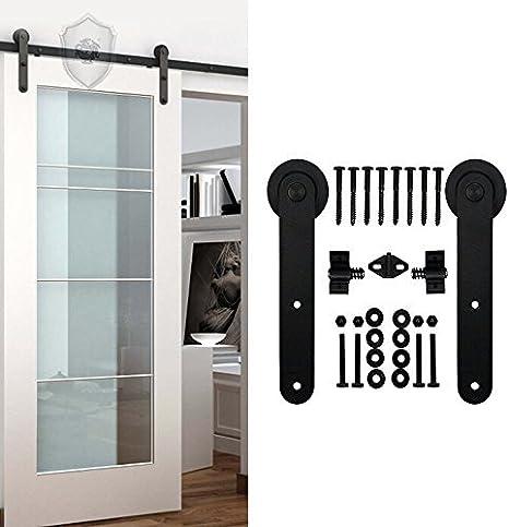 Kirin 10 ft negro estilo antiguo vía única puerta corrediza de madera Hardware armario Set Nuevo: Amazon.es: Bricolaje y herramientas