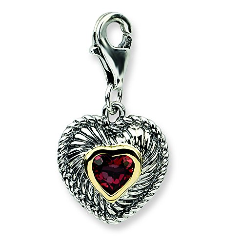 Shey Couture Sterling Silver W/14k Garnet Antiqued Charm ()