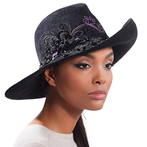 Eric Javits Luxury Fashion Designer Women's Headwear Hat - Stephanie - Black Mix by Eric Javits