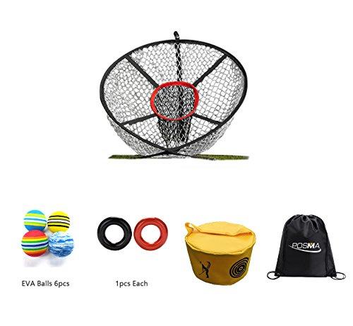 POSMA CN040H Golf Elite Chipping Net Bundle Set With Golf EVA Balls + Weight Power Swing Ring Red and Black(1pcs Each) + Golf Hitting Bag Swing Impact Power Smash Bag + Cinch Sack Carry Bag ()