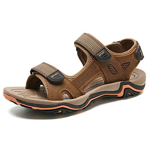 Odema Hommes Sandales En Cuir Dété Bout Ouvert Et Boucle Chaussures Dextérieur Pêcheur Sandales Taille Plus 6-11 1-lightbrown