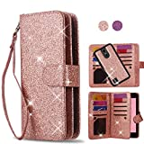 Cheap AYMECL LG K20 Plus Case,LG Harmony/LG K20/LG K20V/LG VS501/LG K10 2017/LG Grace LTE Case[Glitter Sparkly Style][Detachable] with ID and Credit Card Pockets for LG LV5-LC Rose Gold