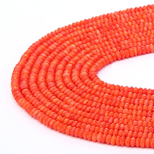 (BRCbeads Natural Orange Coral Gemstone Faceted Rondelle Loose Beads 2x4mm Approxi 15.5 inch 180pcs 1 Strand per Bag for Jewelry Making)