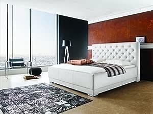 Cama con somier tapizada Cama 180 x 200 L XXL Cabecero L ...