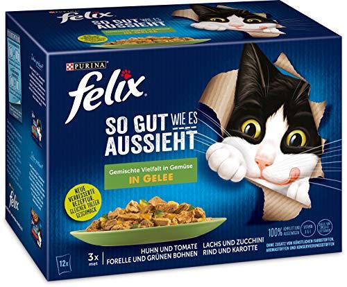 FELIX Katzennassfutter So gut wie es aussieht in Gelee Gemischte Vielfalt mit Gemüse, 6er Pack (6 x 12 x 85g…