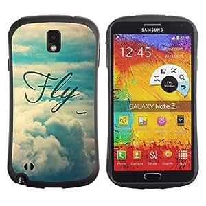 Suave TPU GEL Carcasa Funda Silicona Blando Estuche Caso de protección (para) Samsung Note 3 / CECELL Phone case / / fly motivational vignette text sky /