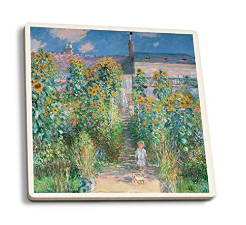The Artist's Garden at Vetheuil - Masterpiece Classic - Artist: Claude Monet c. 1880 (Set of 4 Ceramic Coasters - Cork-Backed, Absorbent)