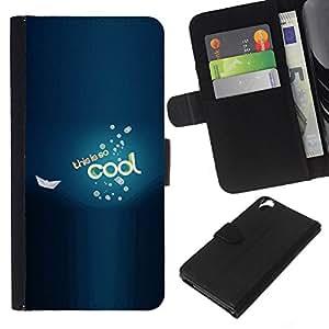 - BLUE BUBBLES COOL TEXT SEA BOAT BE - - Prima caja de la PU billetera de cuero con ranuras para tarjetas, efectivo desmontable correa para l Funny House FOR HTC Desire 820