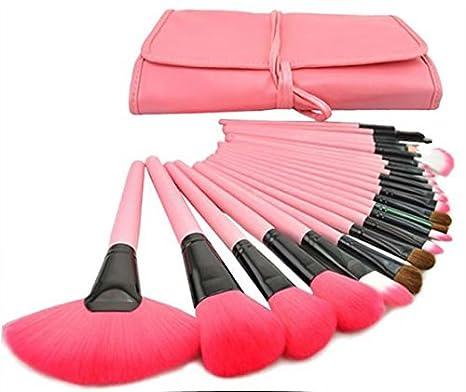 120ecc467 Brochas Maquillaje 24 Piezas Set Profesional color Rosa Chicaspekes ...
