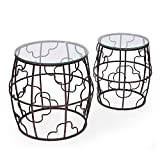 Joveco Antique Bronze Quatrefoil Designed Accent Metal Round Drum End Table with Glass Top, Set of 2