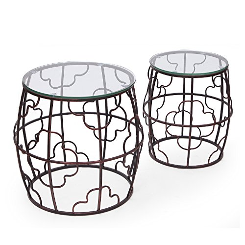 Glass Antique End Table - Joveco Antique Bronze Quatrefoil Designed Accent Metal Round Drum End Table with Glass Top, Set of 2