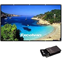 Excelvan 100 Inch 16:9 Collapsible PVC HD Portable Home and Outdoor Projector Screen with Hanging Hole for Front Projection