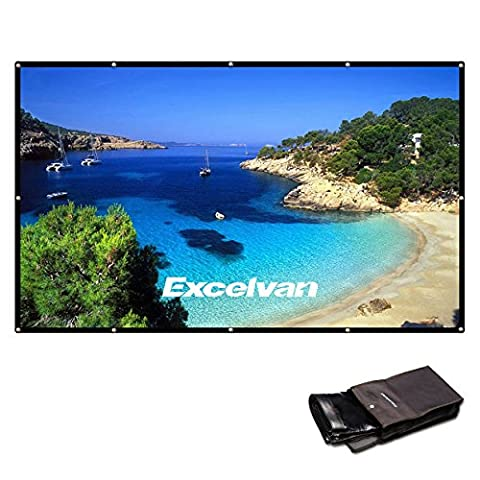 Excelvan 150 Inch 16:9 Collapsible PVC HD Portable Home and Outdoor Projector Screen with Hanging Hole for Front (Projector Projection Screen)