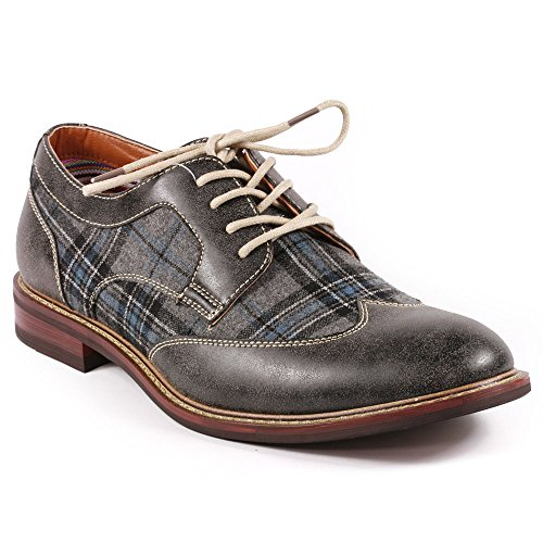 Metrocharm MET525-1 Men's Plaid Lace Up Wing Tip Classic Oxford Dress Shoes (7.5, Teal / Gray)