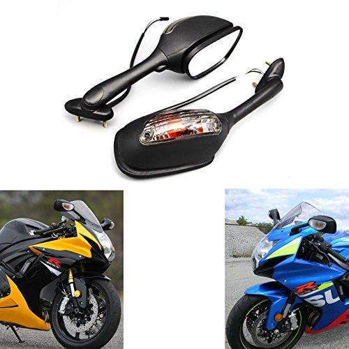 Gsxr600 750 Left Mirror - MZS Motorcycle Turn Signals Mirrors Rear View for Suzuki GSXR600 GSX-R600 2006-2017/ GSXR750 GSX-R750 2006-2017/ GSXR1000 GSX-R1000 2002-2017/ SV650 SV650S 2003-2008/ SV1000 SV1000S 2003-2007 (Black)