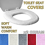 Medipaq Toilet Seat Cover - Super Warm Fleece - Retaining Ring - Universal Fit - Machine Washable 2X Cream