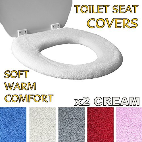 Medipaq Toilet Seat Cover - Super Warm Fleece - Retaining Ring - Universal Fit - Machine Washable 2X Cream by Medipaq