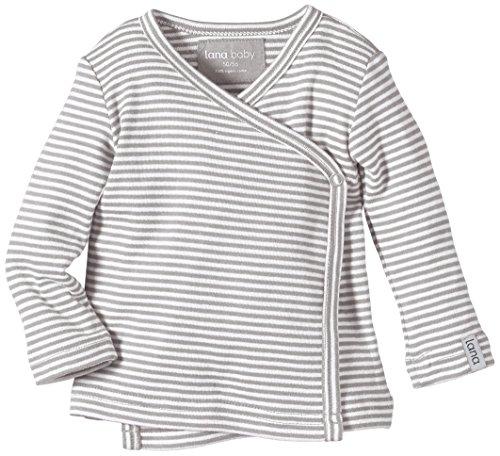 Lana Natural Wear Unisex - Baby T-Shirt Wickelshirt Finn, Gestreift, Gr. 62/68, Mehrfarbig (Graumelange/Natur 197)