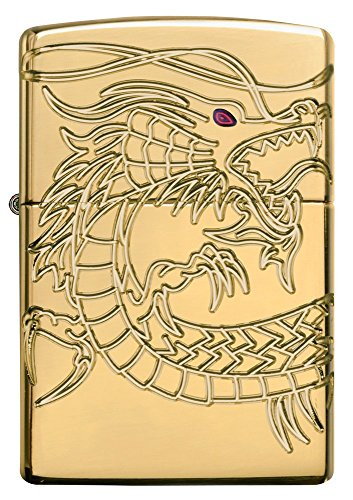Dragon Armor Heavy Zippo Outdoor Indoor Windproof Lighter Free Custom Personalized Engraved Message Permanent Lifetime Engraving on Backside by Zippo