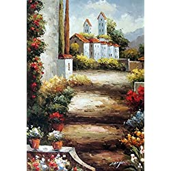 100% Hand Painted Italian Country Village Tuscany Homes Landscape Canvas Oil Painting for Home Wall Art by Well Known Artist, Framed, Ready to Hang