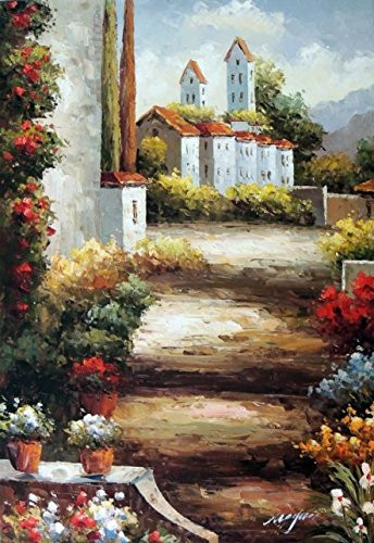100% Hand Painted Italian Country Village Tuscany Homes Landscape Canvas Oil Painting for Home Wall Art by Well Known Artist, Framed, Ready to Hang (Oil Painting Tuscany)