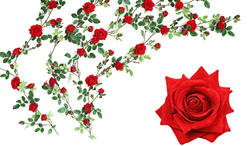 (Luyue Artificial Rose Vine Silk Flowers Garland Wedding Flowers Vines Silk Roses Garland for Wedding Decorations)