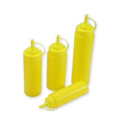 Squeeze botella (Set de 4) plástico de botella de ketchup Squeeze botellas de condimento