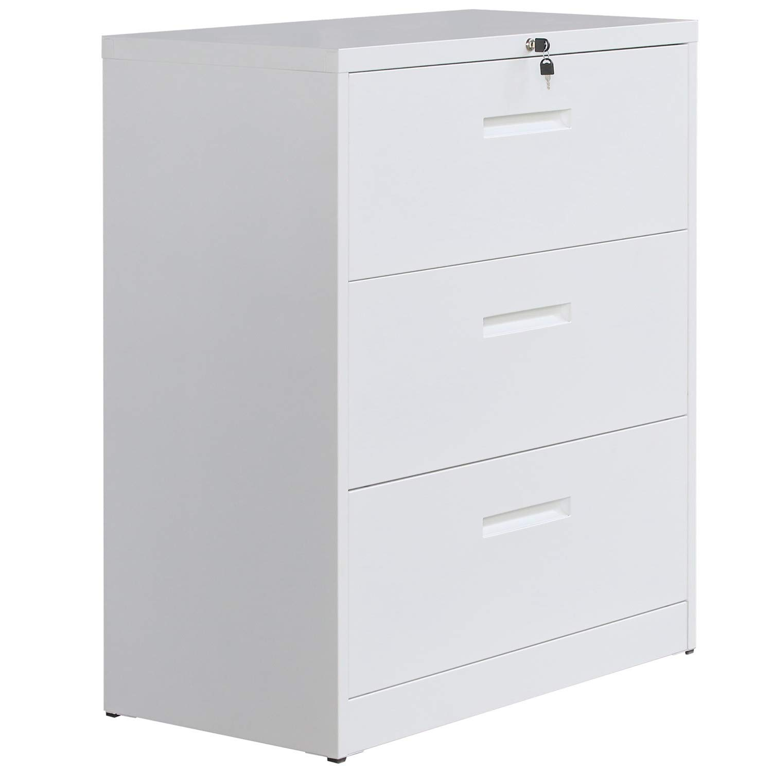 File Cabinet with Lock Lateral File Cabinet Metal Heavy Duty 3 Drawer Office Cabinet (White) by Retrohom