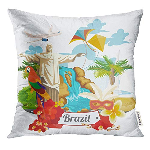 Emvency Throw Pillow Cover Travel of Brazil with Colorful Modern Brazilian Landscape and Monuments Rio De Janeiro Statue Jesus Decorative Pillow Case Home Decor Square 20x20 Inches Pillowcase (Statue De Jesus A Rio De Janeiro)