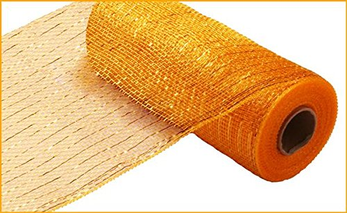 Yellow Ribbon Christmas (10 inch x 30 feet Deco Poly Mesh Ribbon - Value Mesh (Yellow Gold, Bright Gold Foil))