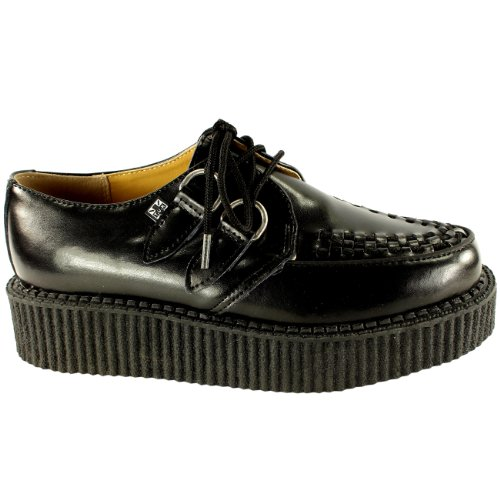 Damen T.U.K Single Flacheform Bordell Kriechgang Leder Retro Schuhe - Weiß - 38