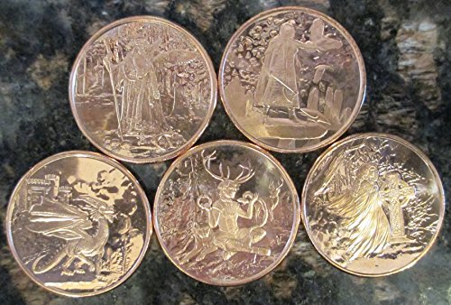 CELTIC LORE:1ozCopperRounds COMPLETE SET, FIVE COINS: Merlin, The Morrigan, The Welsh Red Dragon, Cernunnos, and Banshee