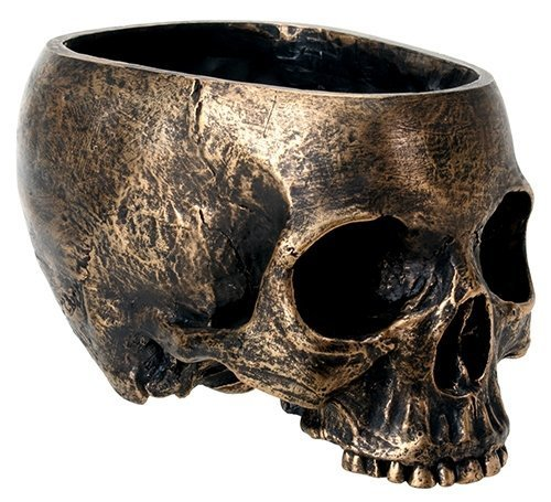 SUMMIT COLLECTION Bronze Resin Halloween Skull Candy Bowl Planter Dish Statue Sculpture Skeleton -