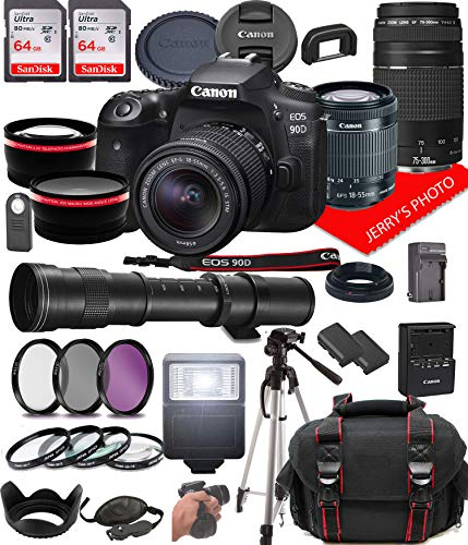 Canon EOS 90D DSLR Camera w/Canon EF-S 18-55mm F/3.5-5.6 is STM + EF 75-300mm F/4-5.6 III Zoom Lenses with 420-800mm…