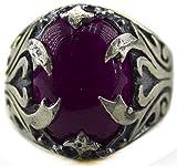 Sterling silver men ring handmade, amethyst natural gemstone , Express Shipping