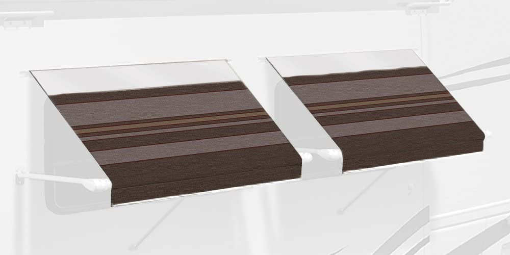 Carefree IN0457B00 SL XL Premium Chocolate 4.5 Long RV Camper Complete Window Awning with White Arms Chocolate Stripe with White Wrap and Red Tenera Thread