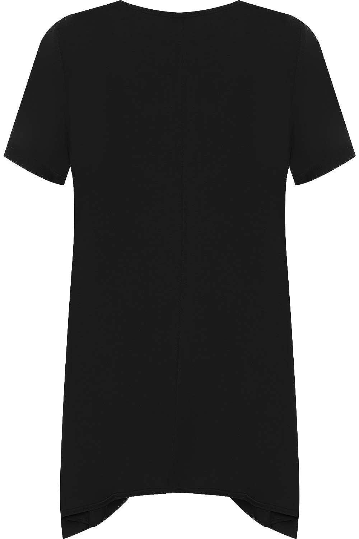WearAll Womens Plus Short Sleeve Reindeer Snowflake Hanky Hem Long Top Ladies T-Shirt 14-28