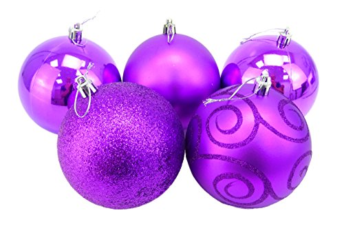 Christmas Concepts Pack of 5 - Extra Large 100mm Christmas Tree Baubles - Shiny, Matte & Glitter Decorated Baubles (Purple) ()