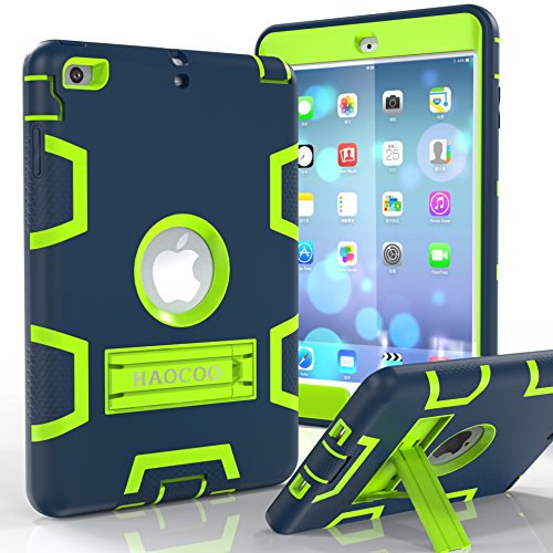 iPad Mini 1/2/3 Case, HAOCOO [Youth Series] [Hot Fashion Colors] Three Layer Armor Defender Shockproof Rugged Hybrid Kickstand iPad Mini Protective Case (Navy Blue with Lime Green ) - Green Ipad Case