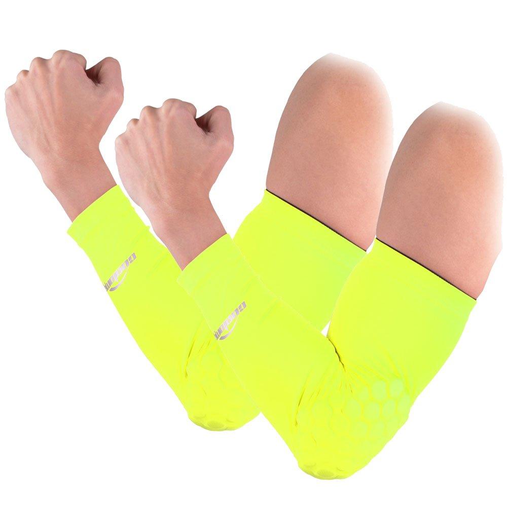 COOLOMG 2pcs子供キッズCombatバスケットボールパッドプロテクターギア撮影手腕肘スリーブ大人用子 B00YTGUD3K 蛍光緑 Large Large|蛍光緑, シープワン 31a737f9