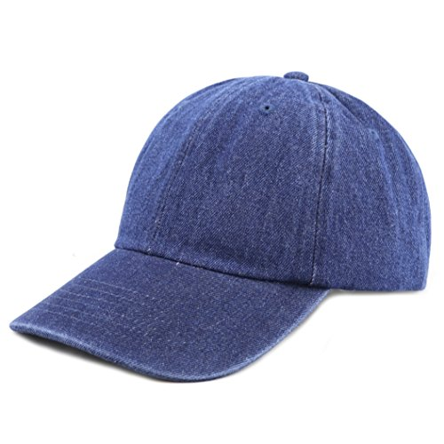 The Hat Depot 300N Washed Cotton Low Profile Denim Baseball Cap (Dark Denim) ()