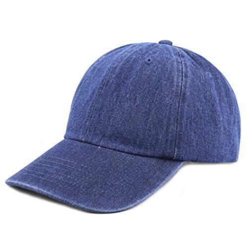 The Hat Depot 300N Washed Cotton Low Profile Denim Baseball Cap (Dark Denim) (Mach Cap)