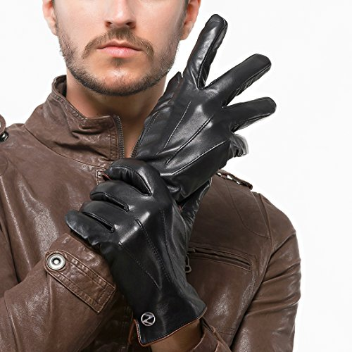 Nappaglo Men's Genuine Touchscreen Nappa Leather Gloves Driving Winter Warm Mittens (M (Palm Girth:8''-8.5''), Black (Touchscreen)) by Nappaglo (Image #3)