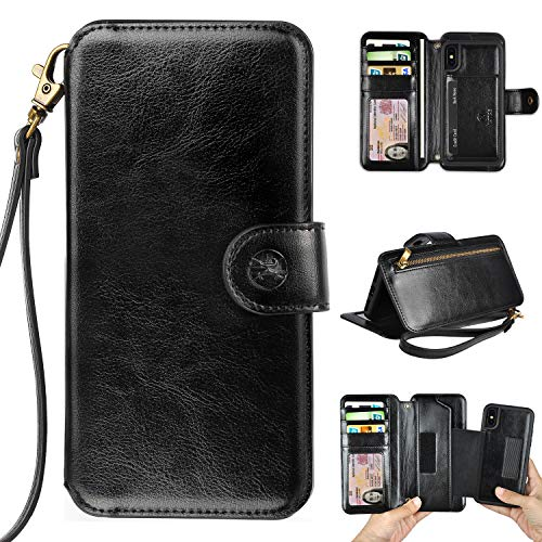 Humble Wallet Case Clutch Compatible with iPhone X 10 Xs - Wristlet Case Boutique Quality Vegan Leather Black - with Card Holder Clutch Purse]()