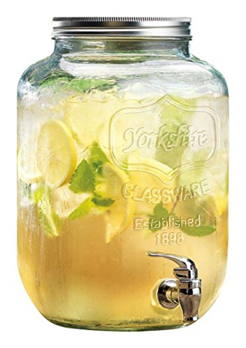 Family Glass Mason Jar Glass Beverage Drink Dispenser with Metal Lid, 1 gal